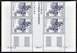 MONACO 1995 - BLOC DE 4 TP / N° 1994 - NEUFS** COIN DE FEUILLE / DATE - Mónaco