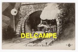 DD / CHEMINS DE FER / TRAIN / LOCOMOTIVE À VAPEUR SORTANT D' UN TUNNEL / DESSIN / CARTE MESSSAGE - Trains