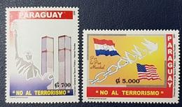 PARAGUAY 2001 NO TE TERRORISM - DOVE DOVES USA WORLD TRADE CENTER FLAGS MNH - Paraguay