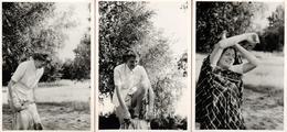 3 Photos Originales Coquines, Portrait D'une Femme Se Rhabillant En Forêt En 1947 - Habillage & Déshabillage En Nature - Pin-up