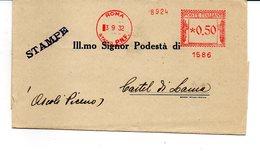 1932 EMA Affrancatura Meccanica Rossa Freistempel Roma Stadio P.N.F. I° Tipo Macchina 1586 Del CONI - Marcofilia - EMA ( Maquina De Huellas A Franquear)