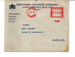 1937 EMA Affrancatura Meccanica Rossa Freistempel Roma Stadio P.N.F. II° Tipo Macchina 1586 Del CONI - Marcofilia - EMA ( Maquina De Huellas A Franquear)