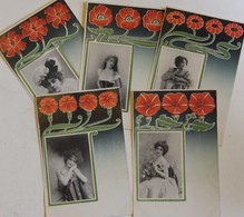 Lot De 5 CPA Précurseur Portrait De Femmes Artistes Reutlinger Très Beau Décors Floral Art Nouveau - Artistes