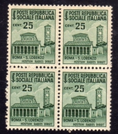 ITALIA REGNO ITALY KINGDOM REPUBBLICA SOCIALE ITALIANA RSI 1944 1945 MONUMENTI DISTRUTTI CENT. 25c MNH QUARTINA BLOCK - Nuovi