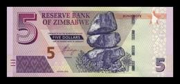 """Zimbabwe 5 Dollars 2016 Pick 100 With """"Bond Note"""" SC UNC - Zimbabwe"""