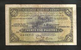 EGYPT / EGITTO - NATIONAL BANK OF EGYPT - 25 PIASTRES (Cairo - 3 September 1942) - Egitto
