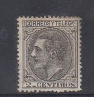 ESPAÑA.  EDIFIL 200 *.  5 CTS NEGRO ALFONSO XII.  CATÁLOGO 14 € - Nuevos