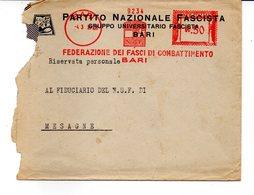 1939 EMA Affrancatura Meccanica Rossa Freistempel Bari Federazione Fasci Combattimento Di Bari - Affrancature Meccaniche Rosse (EMA)