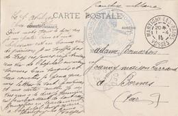 VOSGES CP 1915 MARTIGNY LES BAINS FM HOPITAL TEMPORAIRE DE MARTIGNY - Poststempel (Briefe)