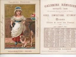 CHROMO Galeries Rèmoises Petite Fille Et Son Chien (format 11x15) Calendrier 1887 Au Dos - Cromo
