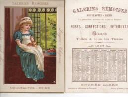 CHROMO Galeries Rèmoises Petite Fille Et Son Chat (format 11x15) Calendrier 1887 Au Dos - Cromo