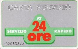 ITALY - FERROVIE DELLO STATO - CARTA SERVIZIO 24 ORE - MAGNETIC - NOT PHONECARD - Italia