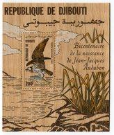 RC 14618 DJIBOUTI BF N° 4 RAPACE OISEAU POISSON AUDUBON BLOC FEUILLET EN BOIS NEUF ** MNH - Dschibuti (1977-...)
