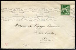 SUEDE - N°155 / LETTRE AVEC O.M. DE VISBY LE 17/12/38 POUR PARIS - TB - Covers & Documents