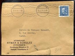 SUEDE - N° 215 / LETTRE AVEC O.M. DE STOCKHOLM LE 25/5/39 POUR PARIS - TB - Suecia