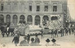 """CPA 51 Marne Cortège Historique """"Reims-Magnifique"""" Char De La Reine - Société Générale Cycles Peugeot Faivre - Reims"""