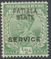 Patiala State(India). 1913-26 KGV. Official. ½a Used. SG O36 - Patiala