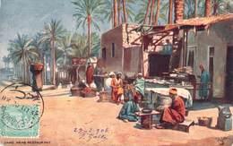 (RARE) CPA  Egypte Cairo Arab Restaurant  (animée)(précurseur)  F251 - Cairo