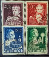 """AUSTRIA 1949 - Canceled - ANK 941-944 - """"Glückliche Kindheit"""" - Complete Set! - 1945-60 Oblitérés"""