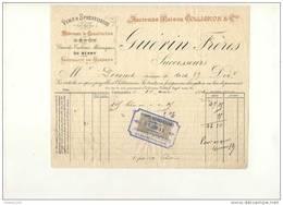 Ancienne Facture De Vins Spiritueux ( Anc. Collignon ) GUERIN Frères à Châteauroux 1892 - Non Classés
