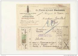 Facture Vins Spiritueux THEVENOT Rue De La Poissonnerie à Bourges ( 18 Cher )( Recto Verso ) - 1900 – 1949