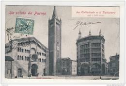 Un Saluto Da Parma  La Cattedrale E Il Battistero ( Attention Pliures Prononcées Sur Les Coins Droits )( Recto Verso ) - Parma