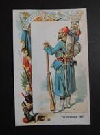 CHROMO  Biscuits Pernot à Dijon.  Militaire. Algérie.  TIRAILLEURS  En  1867. - Vieux Papiers