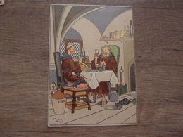 CPA Illustarteur Harry Eliott Carte Ancienne Authentique Moines à Table - Elliot