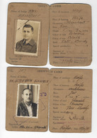 JUDAICA  BRITISH PALESTINE GOVERNMENT 3 ID IDENTITY CARDS 1930 - 40s - Documentos Históricos
