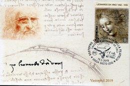 "49266 Italia, Special Card  And Postmark 2019 Vasto, Tribute To Leonardo Da Vinci ""the Flight Of The Kite"" - Arte"