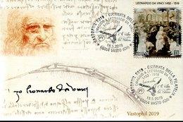 "49268 Italia, Special Card  And Postmark 2019 Vasto, Tribute To Leonardo Da Vinci ""the Flight Of The Kite"" - Arte"