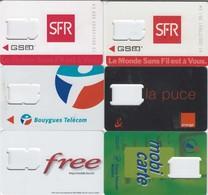 Lot De 7 Cartes Porte SIM Différentes ORANGE - BOUYGUES - SFR - FREE - FRANCE TELECOM - ITINERIS - Unclassified