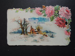 CHROMO . DECOUPI.  Biscuits Pernot à Dijon. Paysage  De  Neige - Documentos Antiguos
