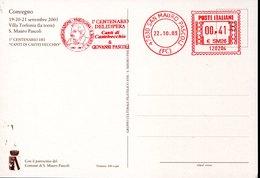 49272 Italia, Red Meter Freistempel Ema, 2003 San Mauro Pascoli, Centanario Opera Di Giovanni Pascoli - Ecrivains