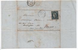 France- 1852- 25 Cts Bleu Sur Lettre - Oblitéré De Quimperlé ( PC 2612 ) Yvert N° 4  Bon état - 1849-1850 Cérès