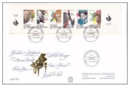 FDC GRAND FORMAT MUSICIENS PERSONNAGES CELEBRES 1992 YT 2747 à 2752  11/04/92. - Markenheftchen