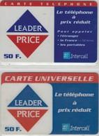 Carte Prépayée - Lot De 2 Cartes Différentes - INTERCALL - LEADER PRICE - Frankrijk