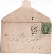 France- 1893- 5 Cts Vert, Seul Sur Lettre - Oblitéré  Cachet A Date ( Tardif)  Yvert N°20    Bon état - 1853-1860 Napoleon III