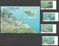 C780 1996 TOKELAU FAUNA MARINE LIFE REPTILES SEA TURTLES #223-6 !!! MICHEL 13 EURO !!! 1BL+1SET MNH - Tartarughe