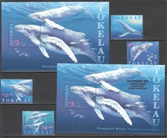 C783 TOKELAU FISH & MARINE LIFE HUMPBACK WHALE AUPEX 97 #244-7 1SET+2BL !!! MICHEL 18 EURO !!! MNH - Balene