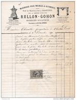 Facture De CHARTRES Illustrée Rue De Mainvilliers Monuments Funébres Marbrerie ( Dubois ) RULLON GOHON  En 1881 - Francia
