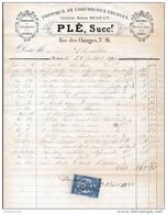 Facture De CHARTRES Rue Des Changes Fabrique De Chaussures  PLE En 1880 - Francia