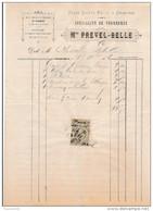 Facture De CHARTRES Place Sainre Foi Fourrures PREVEL BELLE En 1884 - Francia