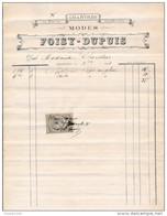 Facture De CHARTRES Rue Du Soleil D' Or  Modes FOISY DUPUIS  En 1881 - Francia