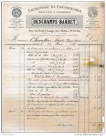 Facture De CHARTRES Rue Du Petit Change Des Halles Couvertures Plomberie DESCHAMPS BARBET En 1881 ( Mauvais état ) - Francia