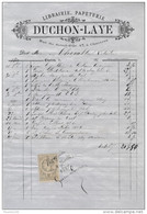 Facture De CHARTRES Rue Du Soleil D' Or Librairie Papeterie DUCHON LAYE  En 1881 - Francia