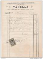 Facture De CHARTRES Rue De La Poële Percée Fumisterie Chaudronnerie VARELLA En 1881 - Francia