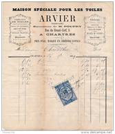 Facture De CHARTRES Rue Du Grand Cerf  Fabrication De Toiles ARVIER Fabricant Succ De Poupry En 1879 - Francia
