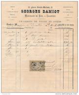 Facture De CHARTRES Place Saint Michel Marchand De Bois Charbons De Terre Et Cokes  DAMIOT  En 1881 - Francia