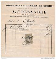 Facture De CHARTRES Rue D' Amilly  Charbons De Terre Et Cokes DESANDRE En 1881 - Francia